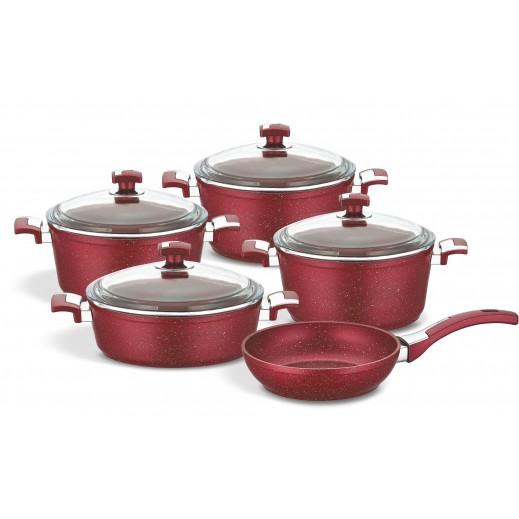 Bonera Vogue Plus Cookware 9 Pieces Set - Red