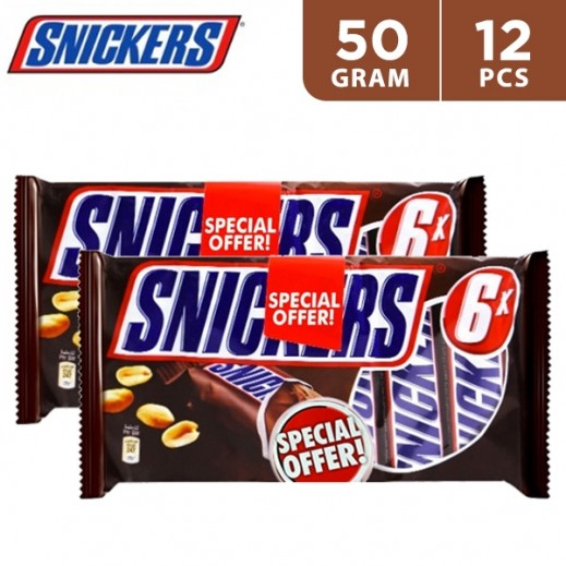 Snickers Chocolate Bars 6 x 50 g (2 Packs 8+4 free)