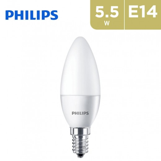 Philips Corepro 5.5W 4000K E14 Base LED Candle Light Bulb - Cool Daylight