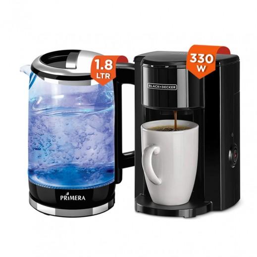 Black & Decker 330W Drip Espresso Coffee Maker + Primera Glass Kettle 1.8Ltr  Black