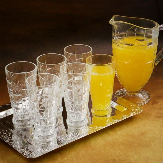 Glassware Crystal Cut Glass Water Set - 7 Pieces