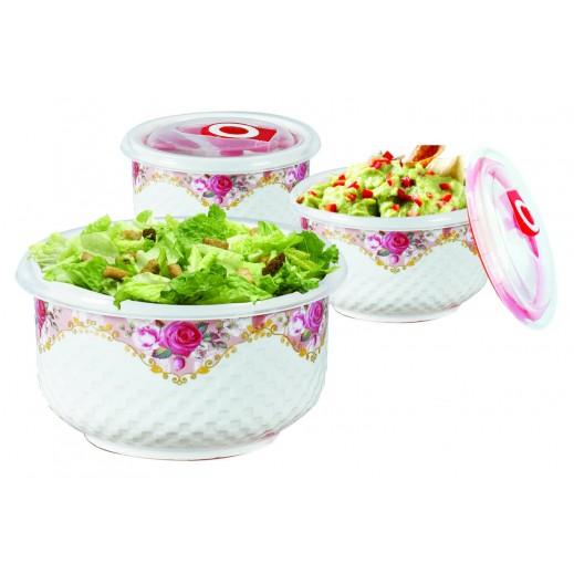 Ceramic Bowl Set with Vacuum Lid Rose - 6 Pieces
