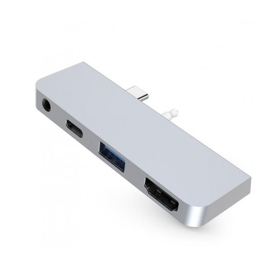 Hyper 4-in-1 USB-C Hub for Microsoft Surface GO - Silver