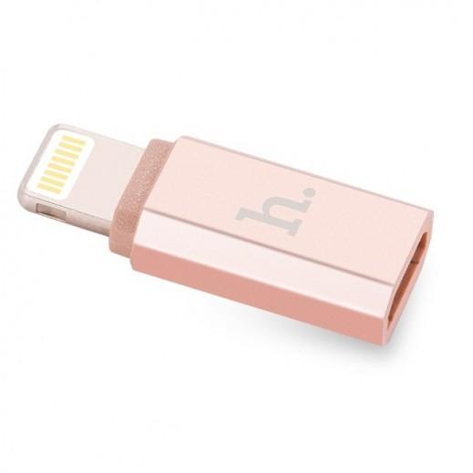 Hoco Lightning to Micro USB Adapter Rose Gold