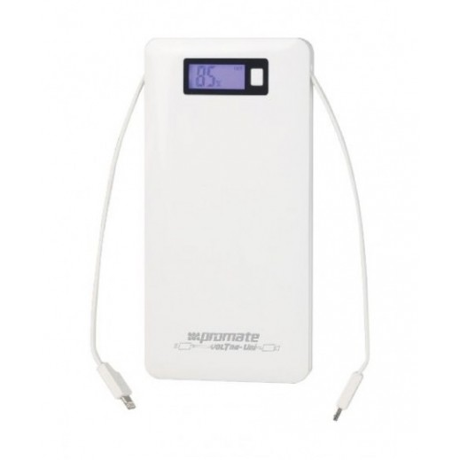 Promate Lithium-Polymer Power Bank 10,000mAh White