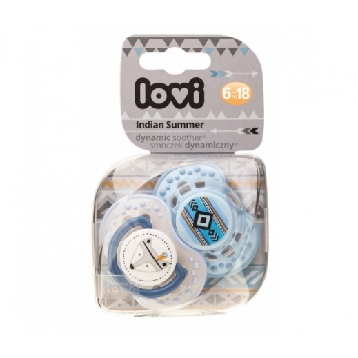 Lovi Indian Summer Dynamic Soother 6-18 Months 2 Pieces Blue