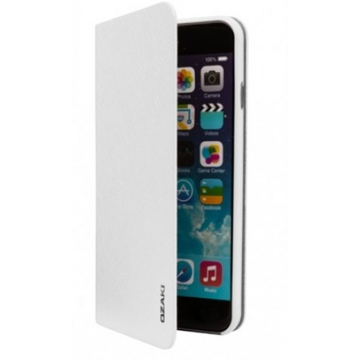 Ozaki o!Coat 0.4 + Folio Ultra Slim & Light Case For Iphone 6 Plus White