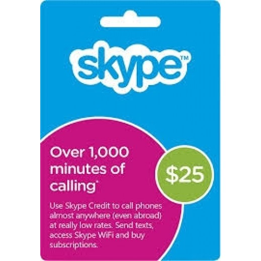 Skype $25 Gift Card - Delivery by E-mail