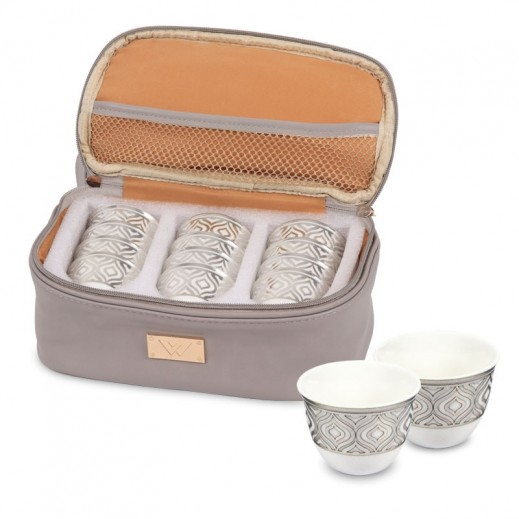Nest Finjan Porcelain Cawa Cups 12 Pieces- Silver