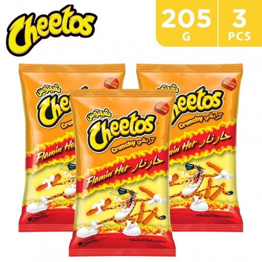 Cheetos Crunchy Flamin Hot Corn Snack 3 x 205 g
