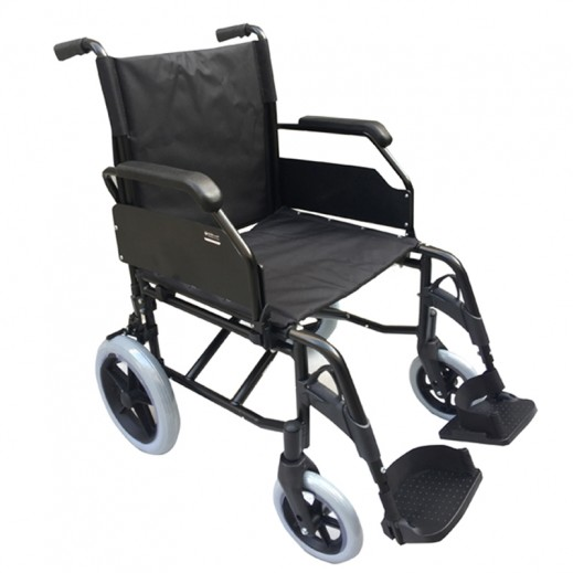 Al Essa Aluminum Light Weight Wheelchair 19 inch with Solid Spoke Rear 12 inch Wheel Black - delivered by Al Essa After 2 working Days