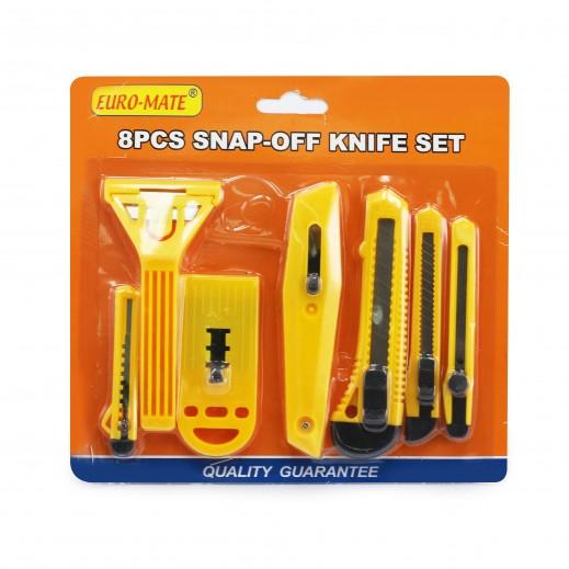 Euro Mate 8 Pcs Snap-Off Knife set - Yellow