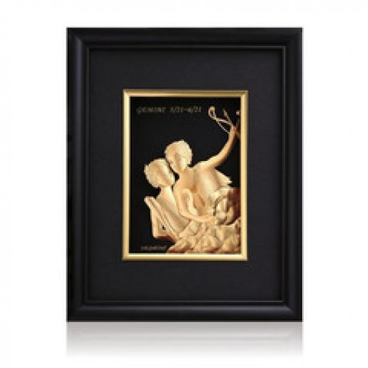 Q Best 24K Gold Foil 3D Gemini Constellation