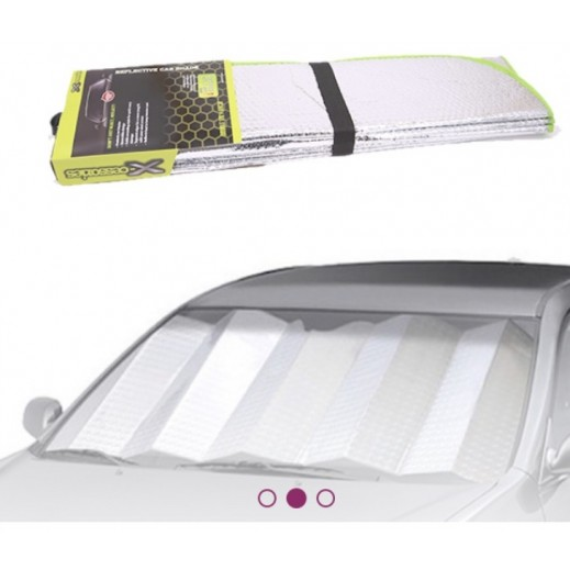 Xcessories – Foldable Aluminum Sunshade for Car Windshields – Silver