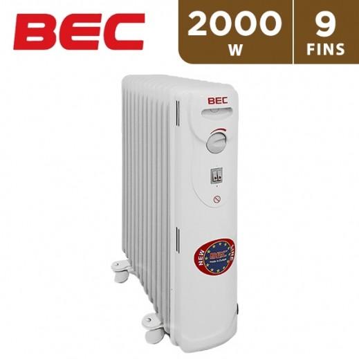 BEC 2000 W 9 Fins Oil Heater - White