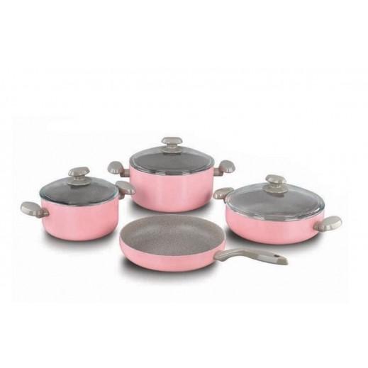 Korkmaz Mia Manolya Non-Stick Granite Cookware Set Pink - 7 Pieces
