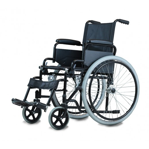 Al Essa Standard Wheelchair 18 inch with Soild Pu Tyre/Spoke Wheel - Black - delivered by Al Essa Company