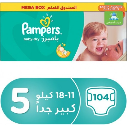 Pampers Active Baby Dry Diapers, Size 5, Junior, 11-18 kg, Mega Pack, 104 Pieces