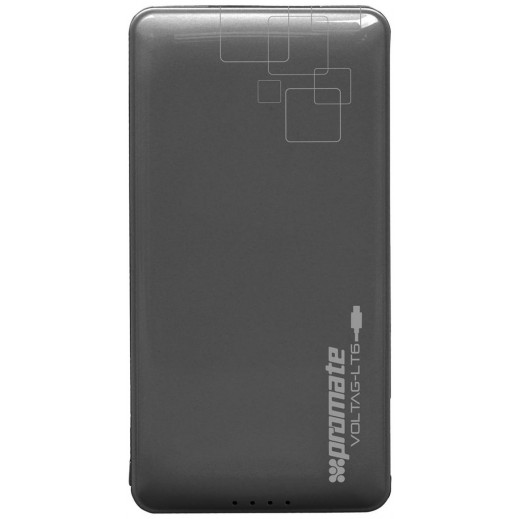 Promate Lithium-Polymer Power Bank 6,000mAh with Built-in Lightning Connector Black