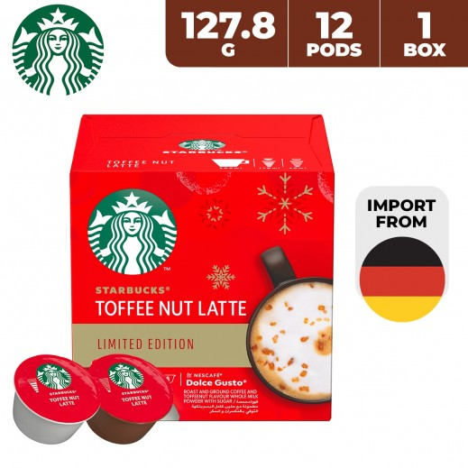 Starbucks Nescafe Dolce Gusto Toffee Nut Latte Coffee Capsules 127.8 g (12 Pods) (Imported From Germany)