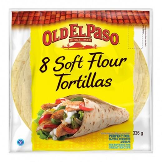 Old El Paso Plain Flour Tortillas 8 inch 326 g