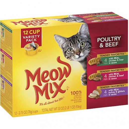 Meow Mix Beef & Poultry Variety Pack (Cats Food) 12Pcs x78 g