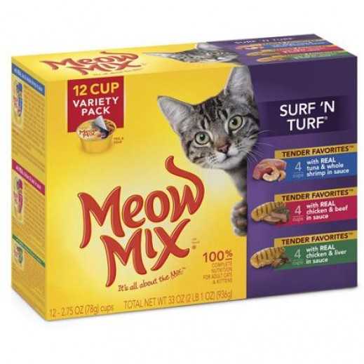 Meow Mix Surf ' N Turf Variety Pack Cats Food 12 Pieces x 78g