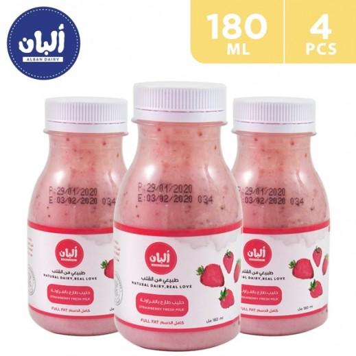 Alban Strawberry Full Fat Cow Milk 180 ml (3+1 Free)