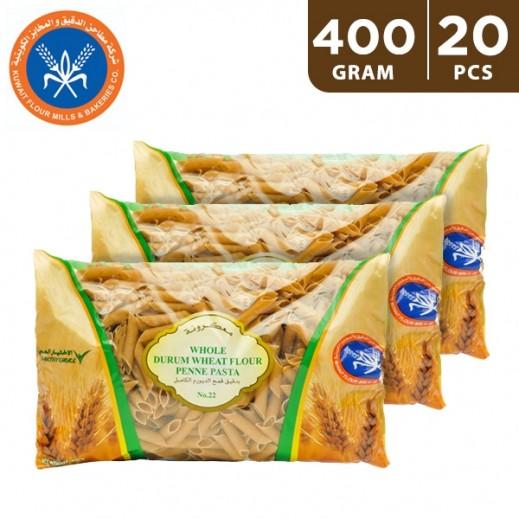 KFM Whole Durum Wheat Flour Penne Pasta No 22 400 g (20 Pieces)