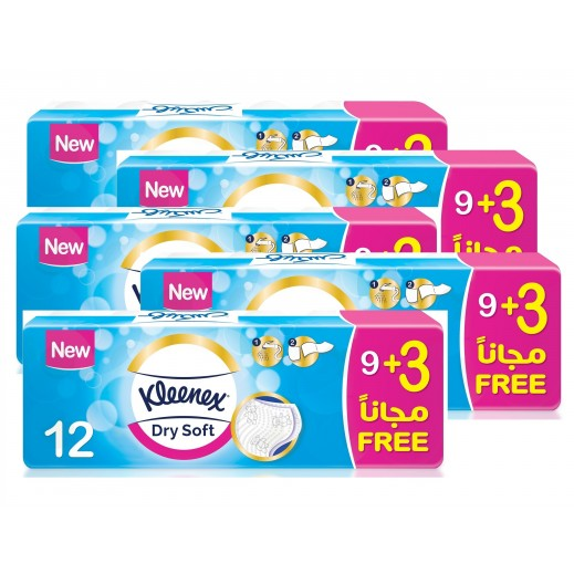 Kleenex Dry Soft Toilet Tissue Rolls 9+3 (5 Pack)