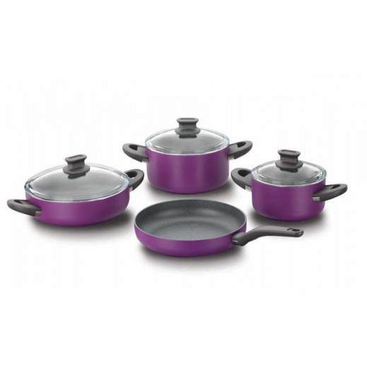 Korkmaz Lina Aluminium Cookware Set Purple - 7 Pieces