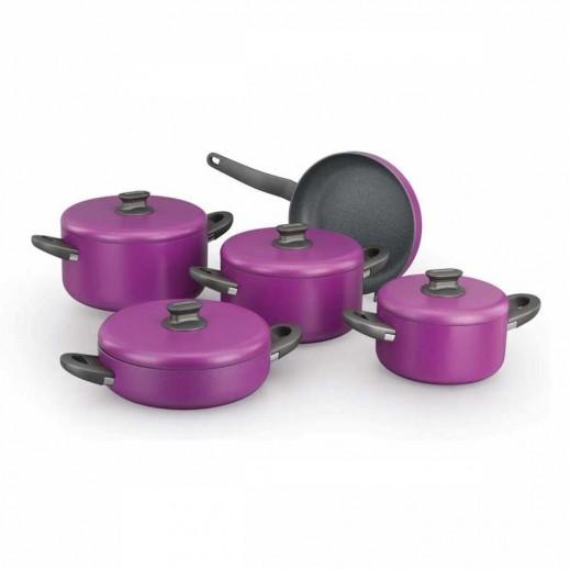 Korkmaz Lina Plus Aluminium Cookware Set Purple - 9 Pieces