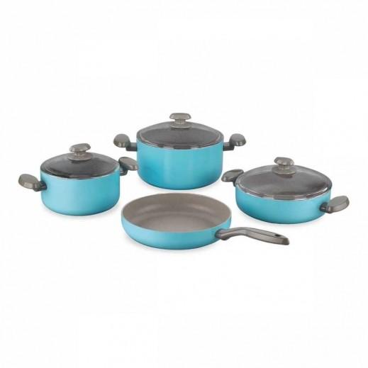 Korkmaz Mia Elegant Aluminium Cookware Set Blue - 7 Pieces