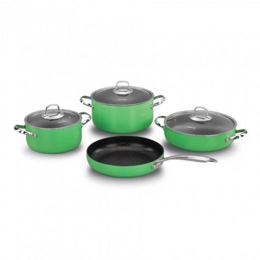 Korkmaz Zeta Aluminium Cookware Set Green - 7 Pieces