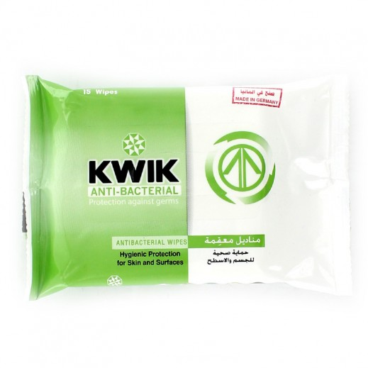 Kwik Care Antibacterial Wipes -15 wipes