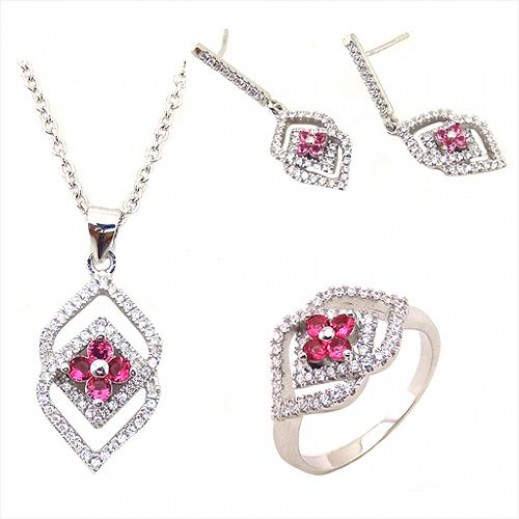 Yemma 925 Sterling Silver Cubic Zirconia Jewelry Set 11.28 g