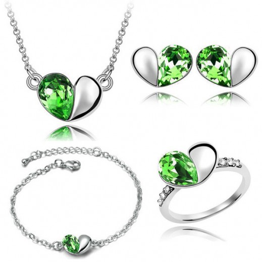 Nixon 18K White Gold Plated Austrian Crystal and Rhinestone Green Jewelry Set - M01190 KR0048