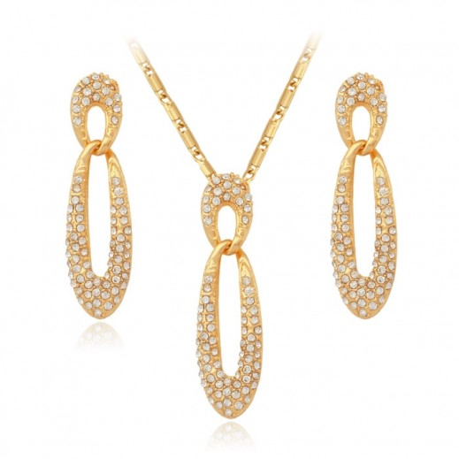 Helen 18K Stamped Gold Plated Crystal Auden Zircon Jewellery Set
