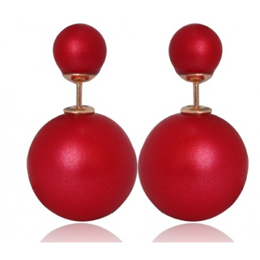 Helen 15mm Pearl Beads Gold Plated Fashion Stud Matte Red Earrings M01424