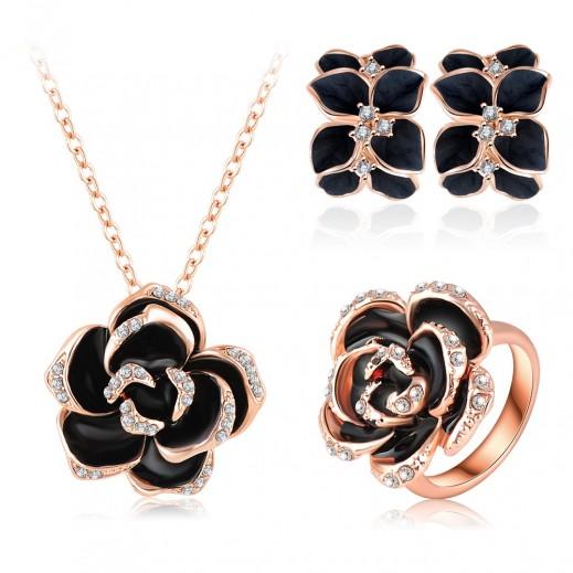 Helen 18K Rose Gold Plated 3 Times Austrian Crystal Enamel Jewellery Set - M01448