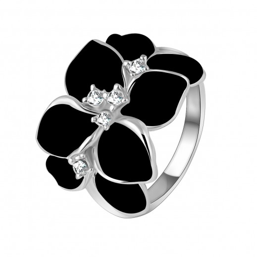 Helen 18K White Gold Plated 3 Times Austrian Crystal Enamel Ring - M01451 (Size 8)