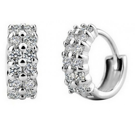 Nixon 18K White Gold Plated Sparkling Crystal Cubic Zirconia Earrings M01497