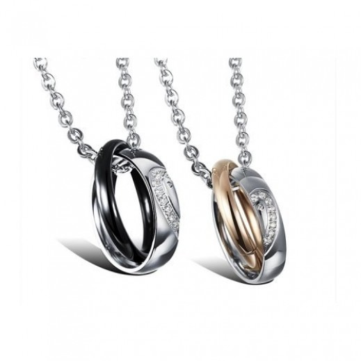 Lousio Stainless Steel Gold Plated Couple Necklace
