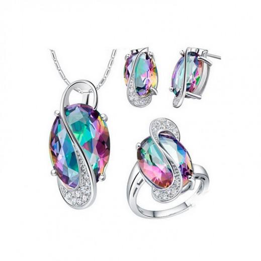Pure 925 Sterling Silver Big CZ Diamond Wedding Bridal Jewelry Set M01129