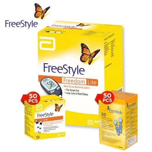 Freestyle Freedom Blood Glucose Machine Lite + 50 Strips+ 50 Lancets