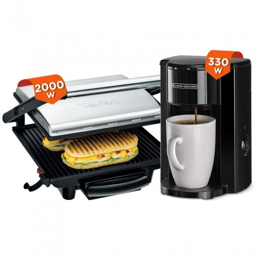 Tefal 2000 W Grill & Panini Maker + Black & Decker 330W Drip Espresso Coffee Maker