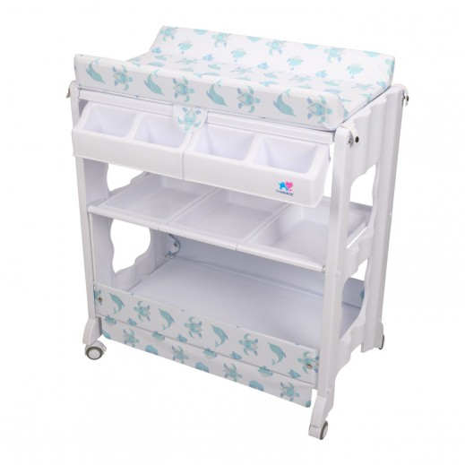 TheKiddoz Diaper Changing Table With Bathtub Animal Design