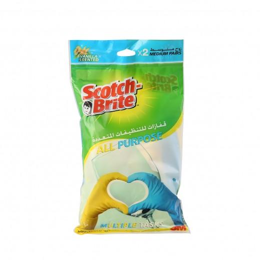 Scotch-Brite Vanilla Scented Multi Purpose Glove Medium - 2 Pairs (Value Pack)