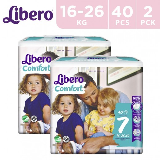 Libero Comfort Fit Diapers Size 7 (16 - 26 kg) 2 x 40 Pieces