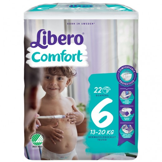 Libero Comfort Fit Diapers Size 6 (13 - 20 kg) 22 Pieces